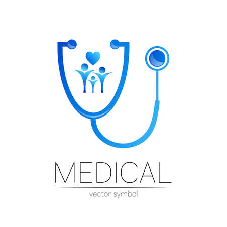 Stethoscope and people vector in blue color. Medical symbol for doctor, clinic, hospital and diagnostic. Modern concept for  identity style. Sign of health. Isolated on white. Illustration
