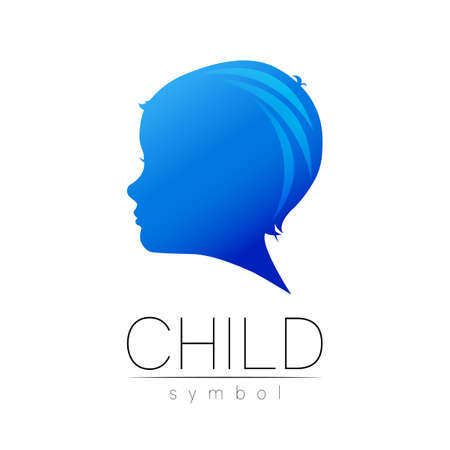 Child blue in vector. Silhouette profile human head. Concept for people, children, autism, kids, therapy, clinic, education. Template symbol, modern design isolated on white background Stock Illustratie
