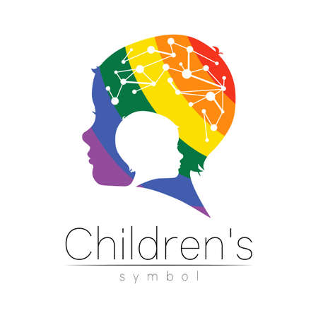 Child rainbow in vector. Silhouette profile human head with brain. Concept for people, children, autism, kids, therapy, clinic, education. Template symbol modern design isolated on white