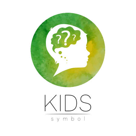 Child with brain and question in green watercolor brush circle vector. Silhouette profile human head. Concept for people, children, autism, kids, clinic, education. Template design
