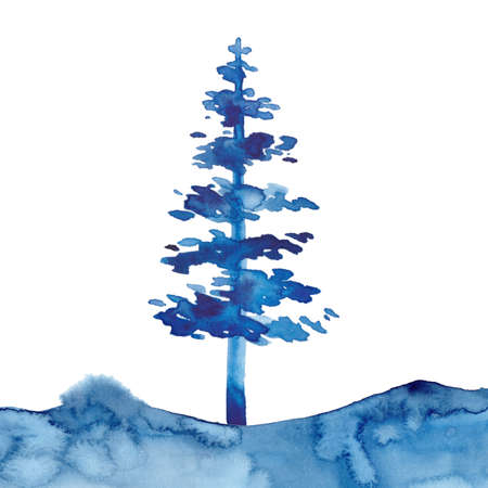 Watercolor style XMAS pine tree and snow isolated illustration of Christmas New Year. Blue color. Brush painting Christmas fir illustration on paper. Drawing spruce. Winter decoration symbol.