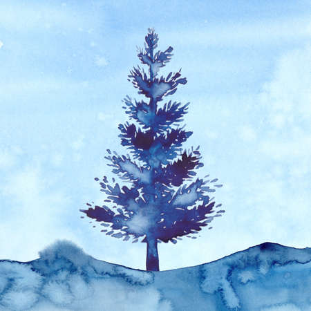 Watercolor style XMAS pine tree and snow illustration of Christmas New Year. Blue color aquarelle background. Brush painting Christmas fir illustration on paper. Drawing spruce. Winter illustration.