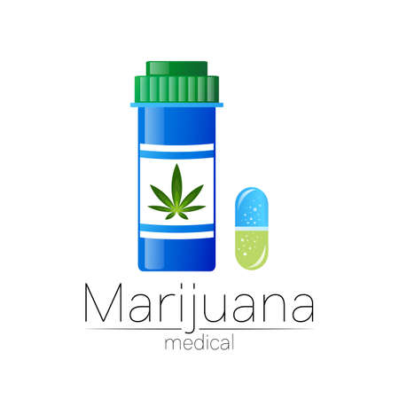 Pill bottle with medical marijuana pills vector illustration. Layered EPS 10 file. Marijuana hemp. Medical pharmacy symbol with herbal plant leaves silhouette.