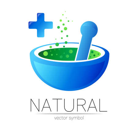 Blue mortar and pestle vector symbol with cross. Logo of nature herb illustration. Concept for ecology, eco, organic, medicine and herb therapy product. Alternative medical logotype for business.