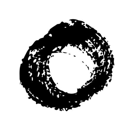 Circle Vector Abstract Round Grunge Brush Hand Drawn Texture in Black Color Sketch Simple Pattern isolated on White Background Grange Doodle Shape