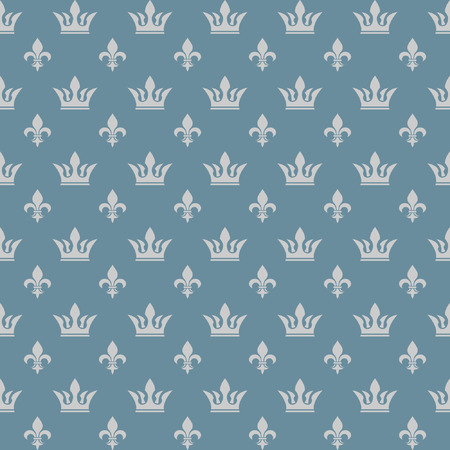 crown: Seamless pattern crown and lily
