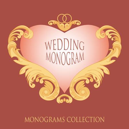 izole nesneleri: Monogram template for wedding invitations. Completely isolated objects. Ability to edit.