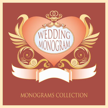 decoracion boda: Template wedding monograms. It can be used for wedding decoration printing, invitations and other design projects. Vectores