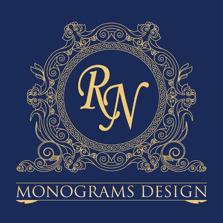 gold floral: Vintage vector monogram. Elegant emblem for restaurants, hotels, bars and boutiques. It can be used to design business cards, invitations, booklets and brochures. Illustration
