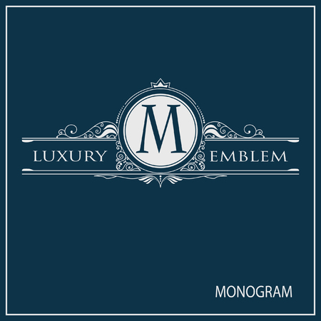 golden frames: Vintage vector monogram. Elegant emblem for restaurants, hotels, bars and boutiques. It can be used to design business cards, invitations, booklets and brochures. Illustration