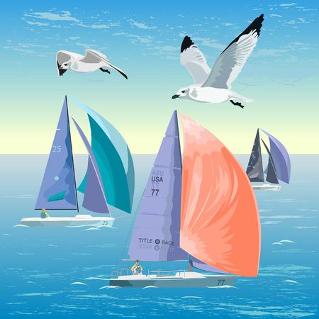 bateau voile: Vector illustration d'une r�gate. Voile au coucher du soleil, les mouettes, l'oc�an et la romance.