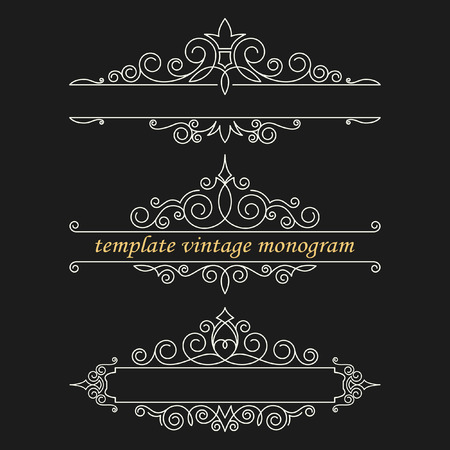 decoration design: Templates vintage elements on a black background. Monogram and exclusive calligraphic design elements for page decoration, construction of other forms of mono- or logos.