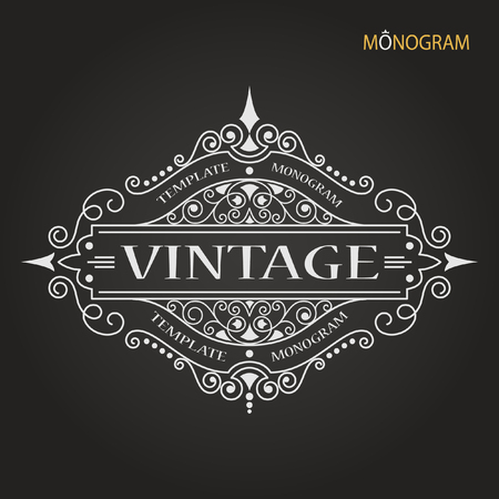 pattern flower: Vintage vector monogram. Elegant emblem logo for restaurants, hotels, bars and boutiques. It can be used to design business cards, invitations, booklets and brochures.