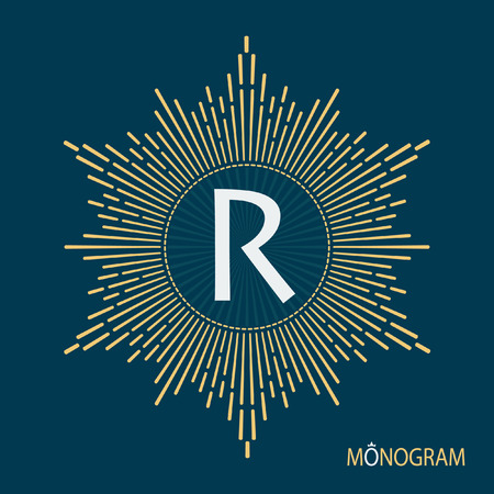 emblem: Stock monogram in the form of sunlight. Elegant and modern logo for use in a variety of design projects.