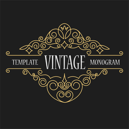 vintage pattern background: Luxury logo template flourishes calligraphic elegant ornament lines. Elegant emblem logo for restaurants, hotels, bars and boutiques. It can be used to design business cards, invitations, booklets and brochures Illustration