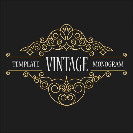 antik: Luxus-Logo-Vorlage blüht kalligraphisches elegant Ornament Linien. Elegantes Emblem Logo für Restaurants, Hotels, Bars und Boutiquen. Es kann Visitenkarten, Einladungen zu entwerfen, Broschüren und Broschüren verwendet werden Illustration