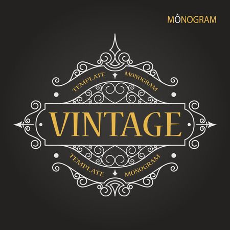 grunge border: Vintage vector monogram. Elegant emblem logo for restaurants, hotels, bars and boutiques. It can be used to design business cards, invitations, booklets and brochures.