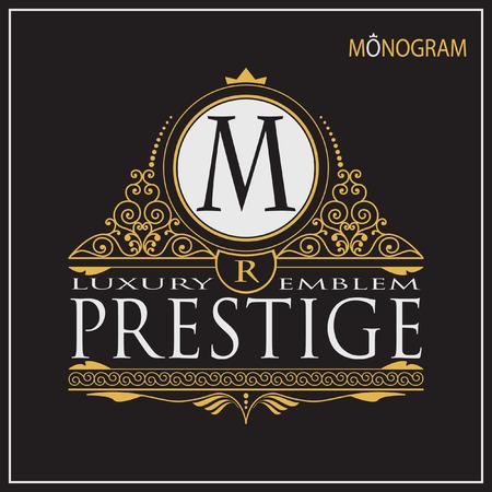 institutions: Vintage vector monogram. Elegant emblem for hotels, restaurants, bars, and public institutions. The logo on brochures, presentations, invitation cards.