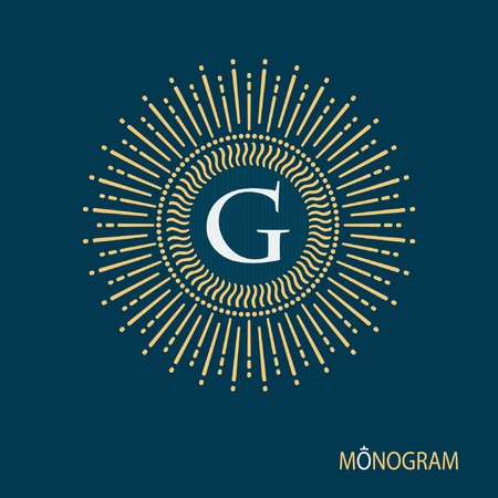 disk break: Monogram collection. Vector illustration of a pattern monogram. Flourishes calligraphic monogram emblem template.