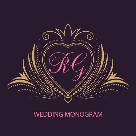 coronal: Vintage vector wedding monogram. Elegant calligraphic pattern on vector logo.