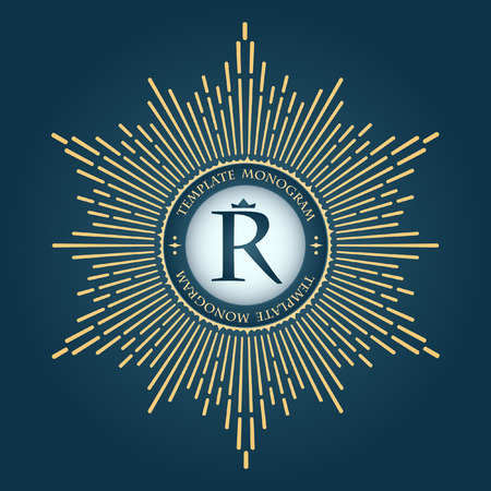 sun ray: Elegant emblem logo for restaurants, hotels, bars and boutiques. It can be used to design business cards, invitations, booklets and brochures Illustration