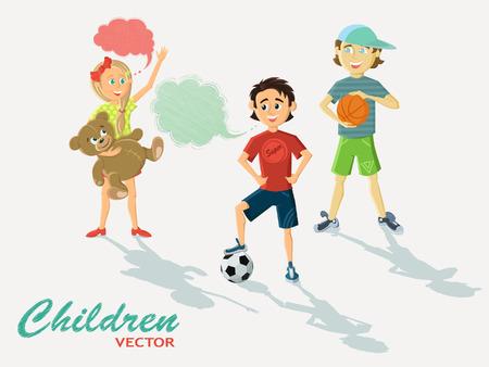 futbol infantil: lustraci�n con los ni�os y los patrones de nubes de frases. Ni�a con un oso y f�tbol de los muchachos de peluche y pelotas de baloncesto. Conjunto