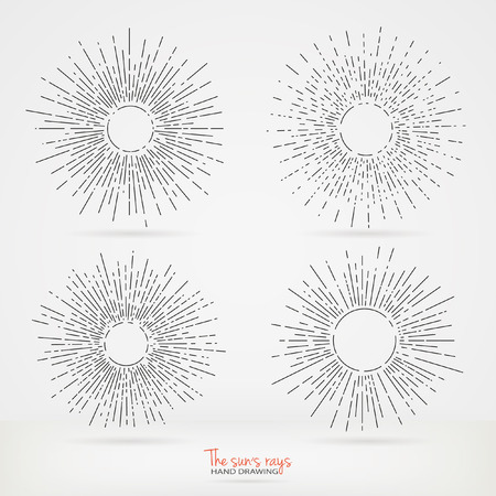 sun light: Set of sun rays images in Hand Drawing style. Graphic elements for various design projects. Uneven sun rays that diverge in hand. The ability to place the text in the center of the elements.