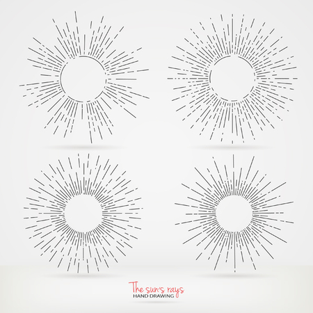 diverge: Set of sun rays images in Hand Drawing style. Graphic elements for various design projects. Uneven sun rays that diverge in hand. The ability to place the text in the center of the elements.