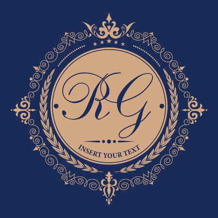 border line: Flourishes calligraphic monogram emblem template. Elegant emblem for restaurants, hotels, bars and boutiques. It can be used to design business cards, invitations, booklets and brochures.