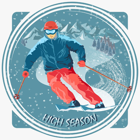 ski resort: Image of a skier in a ski resort. Easy editable completely isolated objects.