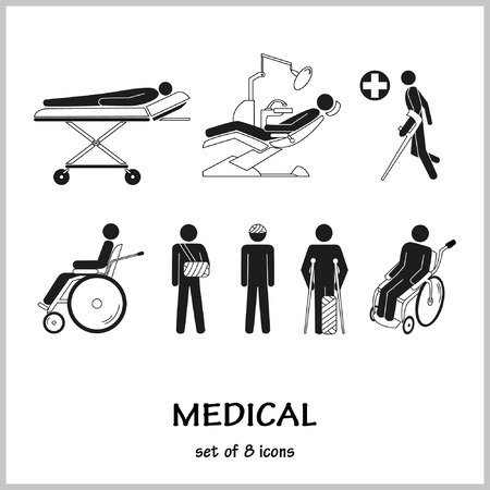 fractures: Set of vector icons on the theme medicine. Injuries, fractures, ambulance.