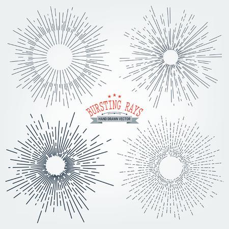 rough diamond: collection of trendy hand drawn retro sunburstbursting rays design elements