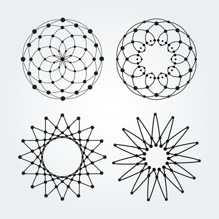pentagramma musicale: Vector linear circles, stars, spiral abstract and round shapes. Design elements of dots and lines.