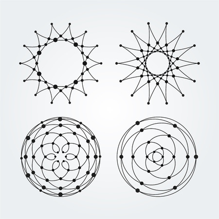pentagramma musicale: Vector Linear cerchi, stelle, spirali forme astratte e rotonde. Elementi di disegno di punti e linee.