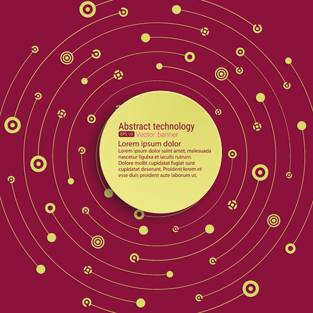 empty space for text: Colorful red background. Round banner. Empty space for text. Crossing the gold dots, circles, lines, symbols. The chaotic motion. Theme of medicine, science, technology, global communications. Illustration