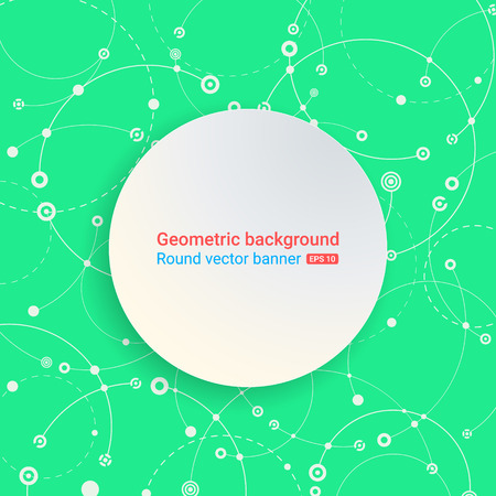 empty space for text: Colorful green background. Round banner. Empty space for text. The chaotic motion of the molecular structure. Theme of medicine, science, technology, global communications.