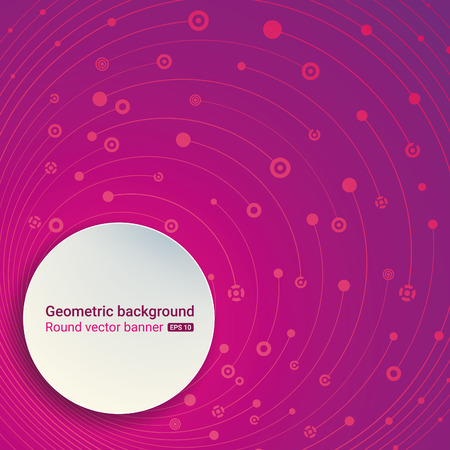 empty space for text: Colorful purple background. Round banner. Empty space for text. The chaotic motion of the molecular structure. Theme of medicine, science, technology, global communications. Illustration