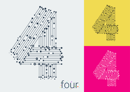 format: Vector number four on a bright and colorful background. Mathematical symbols in techno style, created by interplay of lines and points. Template can be used for posters, banners, presentations.
