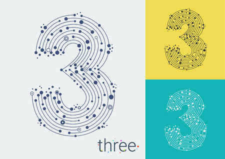 three points: Vector number three on a bright and colorful background. Mathematical symbols in techno style, created by interplay of lines and points. Template can be used for posters, banners, presentations.