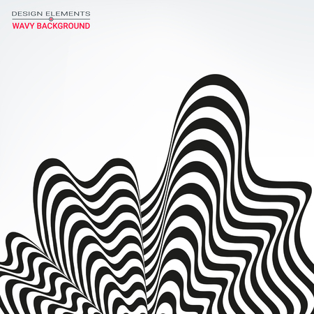 psychiatrist: The design element in the form of black and white stripes in perspective. Background optical illusion. Fluttering 3d wavy line. Packaging Design, cards, banners, posters.