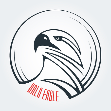 carnivore: The template and the idea    . Abstract image of an eagles head. Round icon and place for text. Bald eagle, vulture, carnivore. Symbol of strength and determination. Illustration