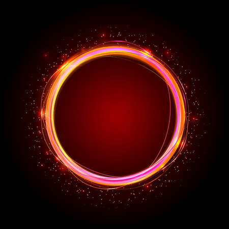 ring flash: Golden shiny rings. Abstract color vector banner. Light effects, glare and reflections. Glowing stellar dust. Template for text.