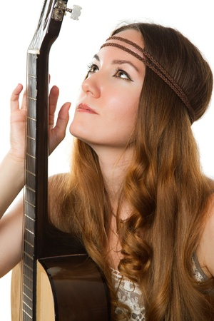 hippie girl with a guitar Stock Photo - 10313231