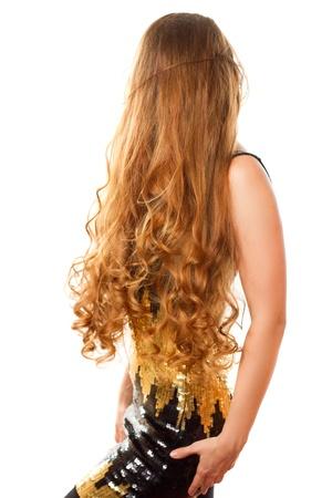 hosszú haj: nagyon hosszú göndör haj Stock fotó