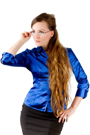 sexy school teacher with long hair Stock Photo - 10674620