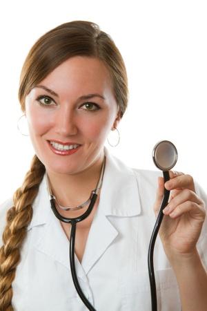 female doctor holding stethoscope, close-up, portrait  photo