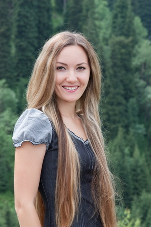 Young attractive woman with long  hair