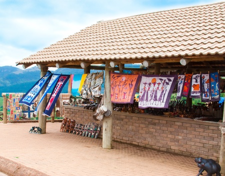 holdall: African traditional  market with handmade  souvenirs in south africa at the weekend