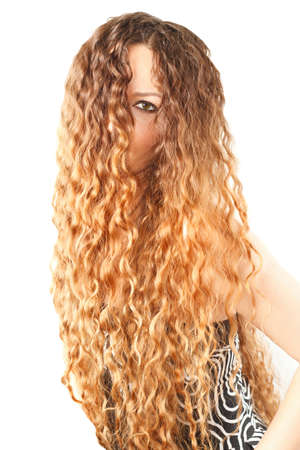Hairstyle from long curly hair on isolated white background  More of this series on my portfolio   Stock Photo - 12526026