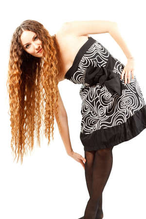 model woman with curly long hairs on  white background